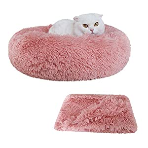 Patas Lague 2-Piece Donut Calming Dog Bed Set (1 Bed, 1 Blanket), Faux Fur Plush Cat Pet Bed, Comfortable and Washable, (20 inches, Pink)