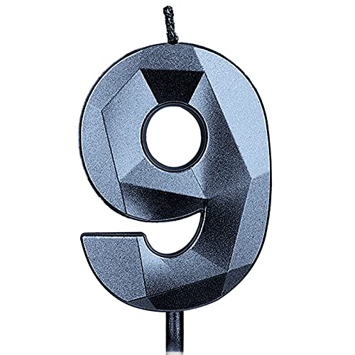 KINBOM 7cm Velas de Cumpleaños con Números Grandes, Forma Diamante 12D Velas Cumpleaños Numeros Decoración Tartas para Bodas Aniversarios Fiestas Fiestas Graduación Niños Adultos Número 9 (Negro)