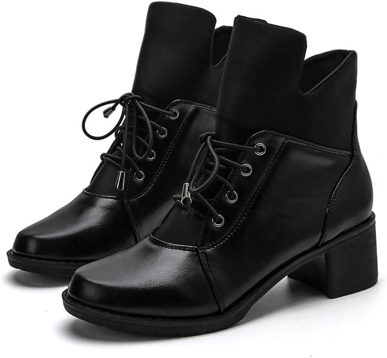 Boots Women's Lace Martin Autumn Winter Thick Heels Fashion High Heels