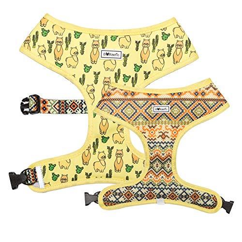 Bulltastic Lama Drama wendbares Hundegeschirr - wendbar, bequem, verstellbar, leicht zu reinigen - für Bulldoggen, Mops und andere Hunderassen, XL, gelb