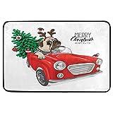 Christmas Pug Dog Door Mats Doormat Red Car Truck Xmas Tree Floor Mat Indoor Outdoor Entrance Bathroom Doormat Non Slip Washable Welcome Mats Winter Holiday Pet Food Mat, 23.6 x 15.7 inch