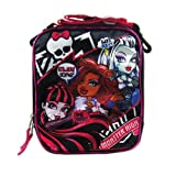 Officially Licensed Monster High Adjustable Strap Vertical Lunch Box - Frankie Stein, Clawdeen Wolf, and Draculaura