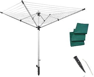 Leifheit Séchoir parapluie LinoLift 600 QuickStart, étendoir à linge 60 m, séchoir à linge avec housse de protection, haut...