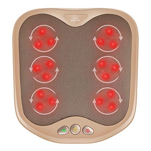 Snailax Shiatsu - Masajeador de pies con calor, masajeador de pies y espalda, cubierta lavable, calentadores de pies para mujeres, hombres, masaje de pies para fascitis plantar, circulación, dolor de pies