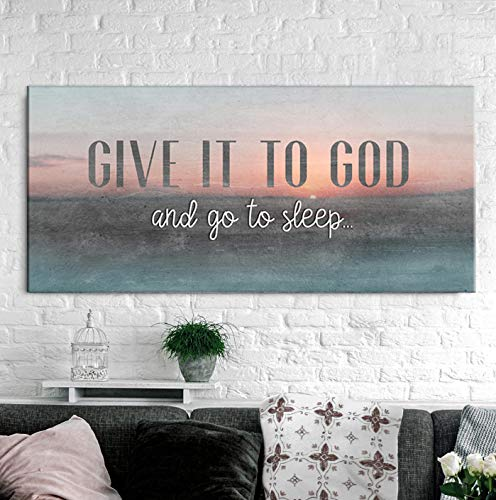 Sense of Art | Give it to God and go to Sleep Quote | Wooden Framed Canvas | Bedroom Decor Wall Art (Sunset Colors, 42x19)