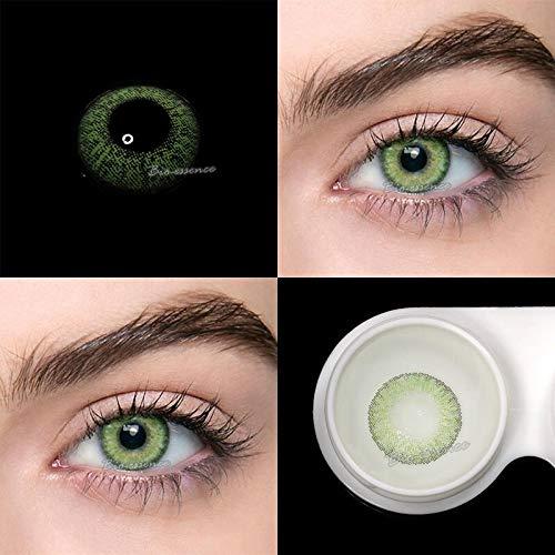 BIO-ESSENCE pack Lentillas hidrogel blandas 1 par Lentes de contacto verdes y violeta sin graduación. Duración: 12 meses. Con estuche y caja. (VERDE GEMA)
