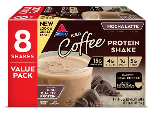 Atkins Mocha Latte Protein-Rich Shake. With High-Quality Protein. Keto-Friendly and Gluten Free. Value Pack. (8 Shakes)*Packaging May Vary