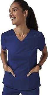 Jaanuu Women's Mock Wrap Neck Scrubs Top Medical Uniform W/Stretch Fabric | Women's Fashion Nurse or Doctor Workwear
