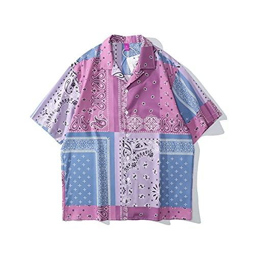 SZQM Camisa Impresa Retro, Mangas Cortas de la Playa de los Hombres de Verano, con Estilo y Textura L