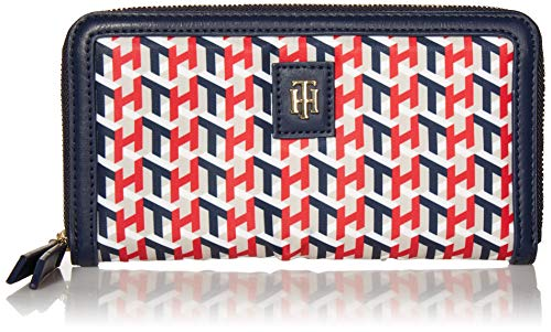 Tommy Hilfiger Julia Large Nylon Zip Wallet, NAVY/RED/STONE