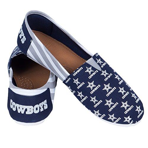 NFL Dallas Cowboys Women s Canvas Stripe Shoes, Large (9), Blue