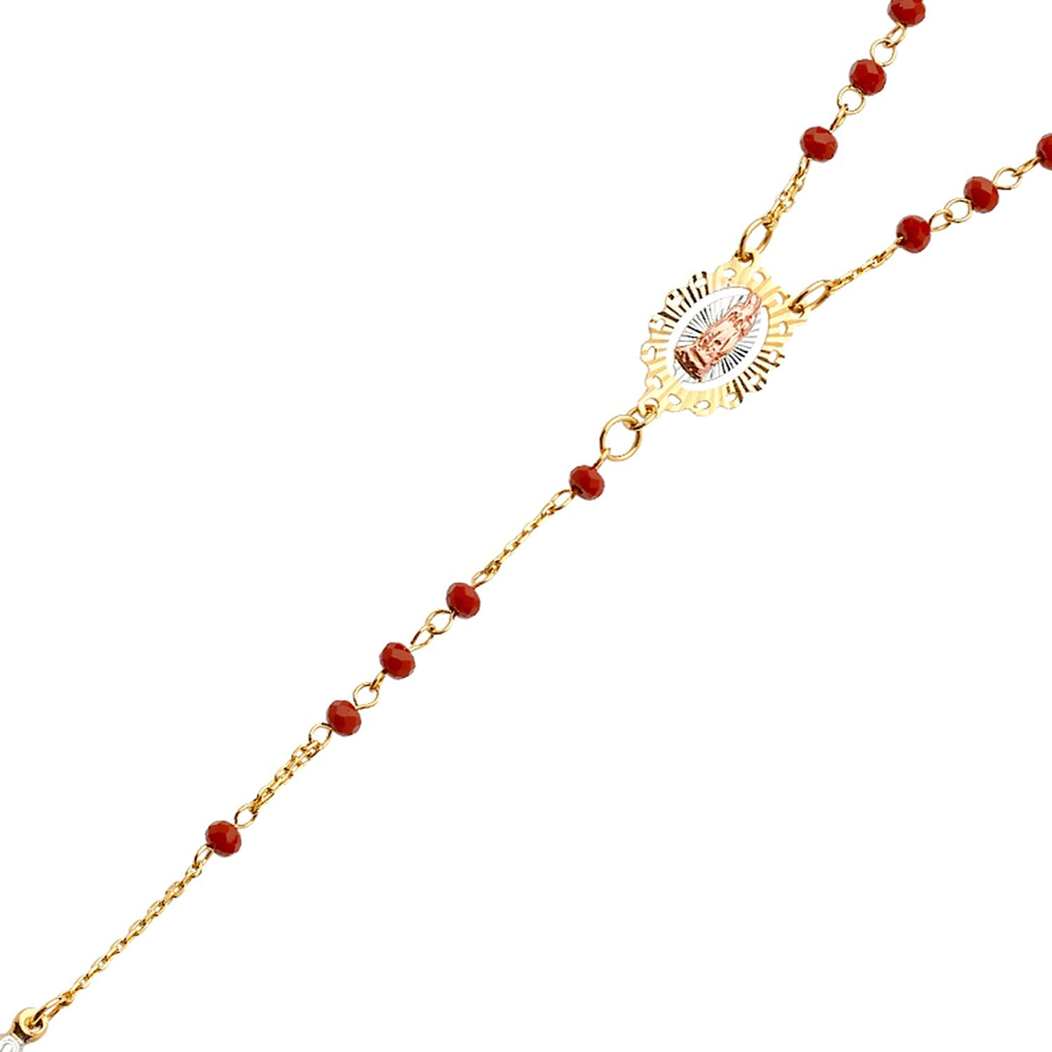 14K Gold Chain Necklace Tri Gem Sale item Rosary Neckla Color Stone Ranking TOP5