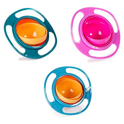 Berry President (TM), 3er-Set Magic Bowl, 360 Grad drehbar, auslaufsicher, Gyro-Schüssel mit Deckel, für Kleinkinder, Babys, Kinder, Pink + Blau + Grün