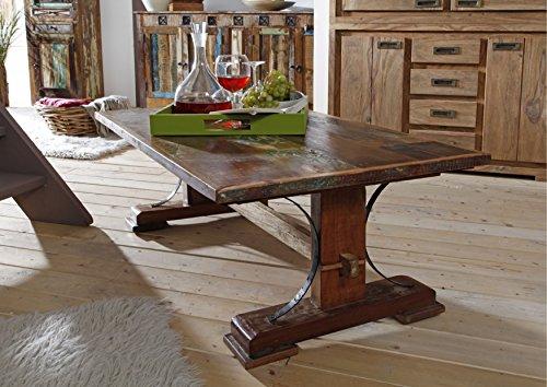 Table basse 120x70cm - Bois massif recyclé multicolore laqué - Inspiration Ethnique - NATURE OF SPIRIT #06