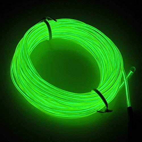 Gruen 3M Lichtschnur Leuchtschnur, EL Wire Neon Draht Light Lampe Beleuchtung Lichtband Lichtleiste Streifen für Halloween Weihnachtsfeiern Nacht Party, Rave, Haus Garten Dekoration(Grün)