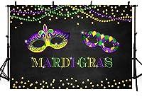新しい7x5ftマルディグラパーティーフォトスタジオ背景小道具パープルゴールドグリーンビーズ仮面舞踏会フェザーマスクダンスプロムボールホリデーデコレーション写真背景バナー