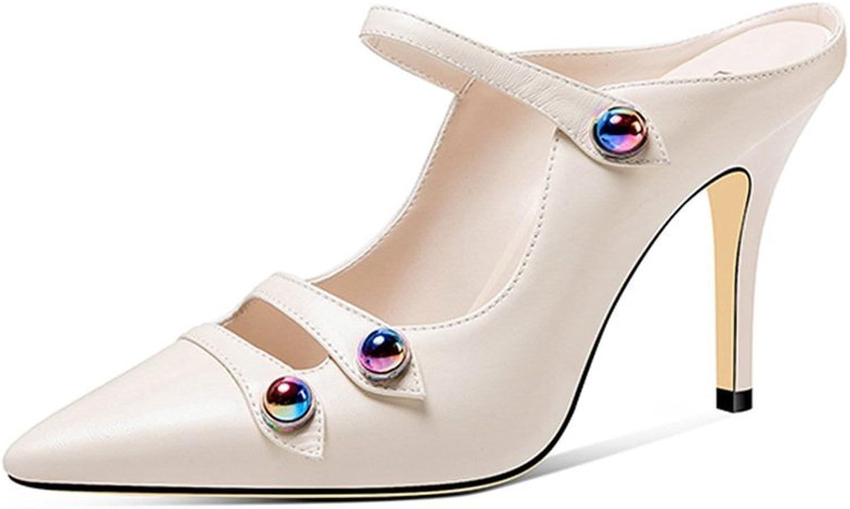 JIANXIN Baotou Halbschuh Frau Sommermode Wear Leder Weiß Outdoor Stiletto Stiletto Heel Sandaletten  sehr gefragt sein