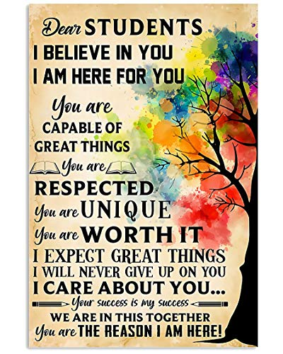 AMD PRINT Teacher Poster Colorful Tree Dear Students I Believe in You I Am Here for You Care About You Abstract Wall Art for Living Room Home Decor Painting Vintage Motivational Poster No Frame