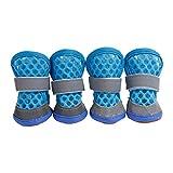 Makluce Zapatos de Perro, 4pcs Bottes et Chaussons Pour Chiens Protective Dog Boots Son Transpirables y Calzado Antideslizante para Perros pequeños Grandes (Color : Azul, Size : Medium(3))