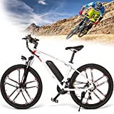 Bicicleta Eléctrica Plegable, Bicicleta De Aleación De Aluminio 26' 48V 8AH Batería Extraíble, Bicicleta Eléctrica con Guardabarros De PVC, Recorrido De Larga Distancia 80km, 35km/h,White