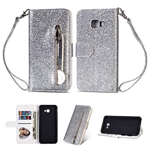 Artfeel Reißverschluss Brieftasche Hülle für Samsung Galaxy J4 Plus, Bling Glitzer Leder Handyhülle mit Kartenhalter,Flip Magnetverschluss Stand Schutzhülle mit Tasche und Handschlaufe-Silber