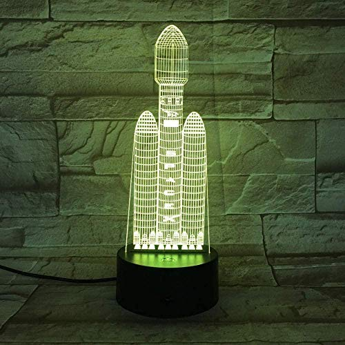 3D Illusion Lamp Jawell Night Light Creative Gift Rocket Table Lamp 7 Color Changing Table Lamp 3D Light Led Night Light Child Christmas Gift Direct Mail