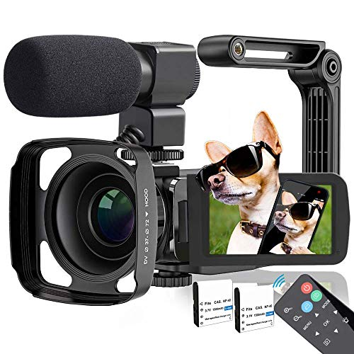 Video Camera, TLPUHU 4K Camcorder Ultra HD 48MP WiFi YouTube Camera for Vlogging, 3.1'' IPS Screen 16X Digital Zoom Night Vision Video Camera with Microphone, 2 Batteries (SD Card not Included)