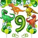 Decoracion Cumpleaños Dinosaurios, Globo Numero 9 Verde, Globos Dinosaurios, Globos de Cumpleaños 9 Años, Globos Grandes Gigantes Helio, Globos para Fiestas de Cumpleaños