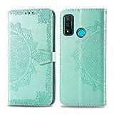 Bear Village Hülle für Huawei Nova Lite 3 Plus, PU Lederhülle Handyhülle für Huawei Nova Lite 3 Plus, Brieftasche Kratzfestes Magnet Handytasche mit Kartenfach, Grün