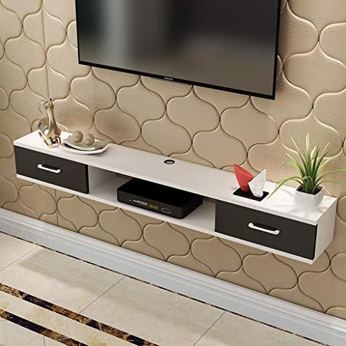 ZPWSNH aan de muur bevestigde tv-kast, wand-achtergrondoppervlak met lade dvd-satelliet-tv-box kabelbox met wit zwevend frame, tv-standaard aan de muur