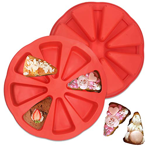 8 Cavity Silicone Portion Cake Mold - Triangle Cavity Silicone Scone Pan,Pizza Slices Pan for Cornbread Brownies Muffins And Soap Kitchen Baking Tool 2Pcs (Red)