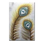 AMEI Art Paintings,32x48inch Abstract Hand Painted Golden Peacock Feather Oil Paintings Vertical Contemporary Artwork Texture Palette Knife Oil Painting Art Wood Inside Framed Hanging Wall Decoration
