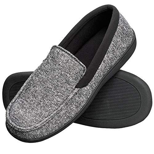 Hanes Men's Slippers House Shoes Moccasin Comfort Memory Foam Indoor Outdoor Fresh IQ, Black, XL
