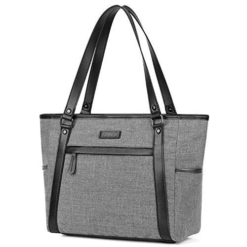 Damen Umhängetasche Aktentasche Schultertasche Reisetasche Handtasche stilvoll Shopper Frauen Taschen Messenger Bag Tote Bag / 15,6 Zoll Business Arbeitstasche Laptoptasche für Notebook, Grau