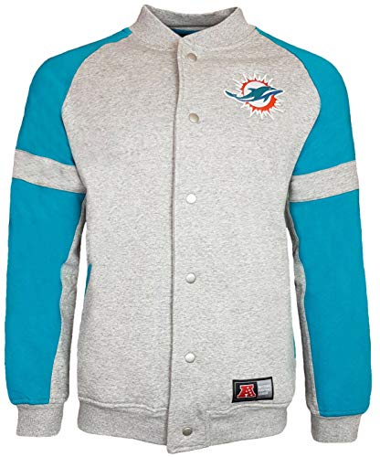 Majestic Miami Dolphins NFL Jeiter - Giacca in pile Letterman Grigio S