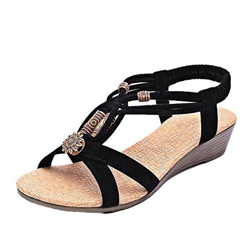 TEBAISE Damen Sandals Frauen Flach Sandalen Sommer Bohemian Strass Flach Sandaletten Sommerschuhe PU Leder Elastischen Zehentrenner Strand Schuhe Böhmische Outdoor Schuhe