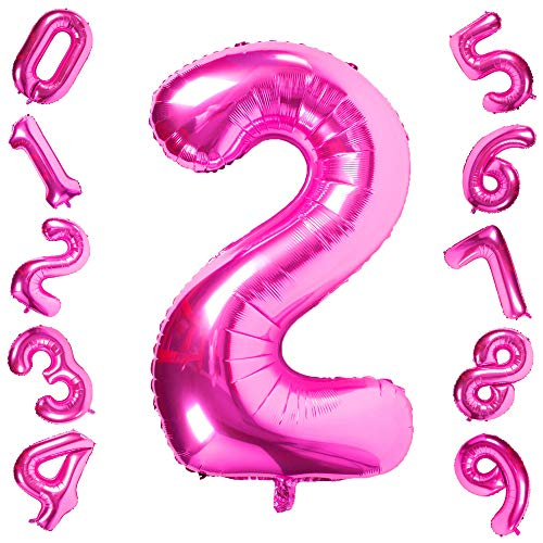 Pink 2 Balloons,40 Inch Birthday Foil Balloon Party Decorations Supplies Helium Mylar Digital Balloons (Pink Number 2)