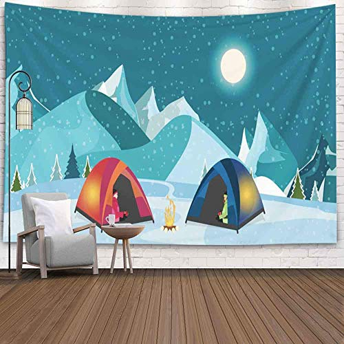 Tapiz de Pared de Navidad, Tapiz de Feliz Navidad Fogata Tienda turística Prado nevado Camping Senderismo Concepto de Aventura de Invierno Tapiz de Paisaje navideño
