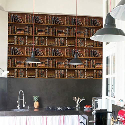 3d retro boekenplank patroon behang waterdicht behang woondecoratie woonkamer muurstickers muurschildering-200 * 140cm