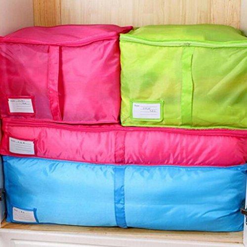 Teenxful Bluelans Grande Parure de lit Sac de rangement Vêtements Boîte de rangement pour couverture de lit avec oreillers de placards Pouch, Tissu Oxford, rose rouge, Small