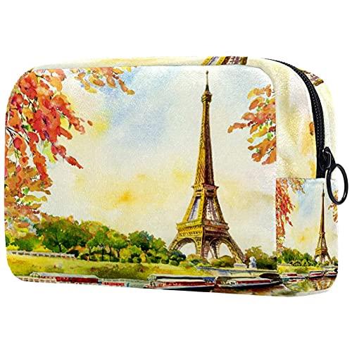 Trousse de Maquillage Organisation Rangement Cosmétique Portable Vista fiume Seine Senna Eiffel in Autunno pour Les Voyages Plein air
