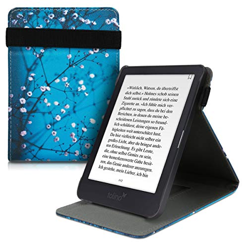 kwmobile Hülle kompatibel mit Tolino Shine 3 - Schlaufe Ständer - e-Reader Schutzhülle - Kirschblütenzweig Weiß Schwarz Blau