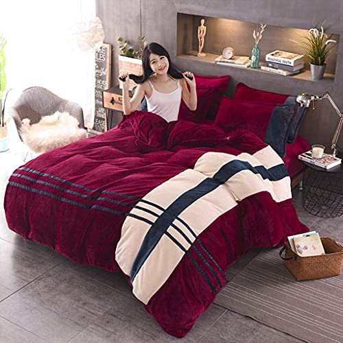 Riyyow Quilt Set King Size Lightweight Microfaser Coveret Modern Style Stitched Quilt Muster BettSpread Set Tagesdecke Set - Gestreifte Herbst Warme Töne (Color : Red, Size : Super King)