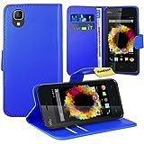 FoneExpert® Wiko Sunset Handy Tasche, Wallet Hülle Flip Cover Hüllen Etui Ledertasche Lederhülle Premium Schutzhülle für Wiko Sunset (Blau)