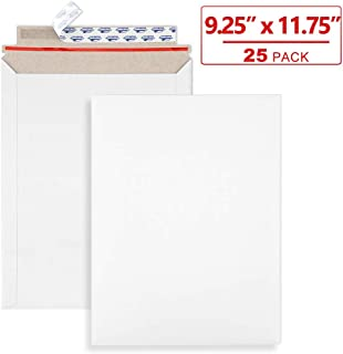 ValBox 9x11.5 Self Seal Photo Document Mailers 25 Pack Stay Flat White Cardboard Envelopes, 9.25 x 11.75 Inches