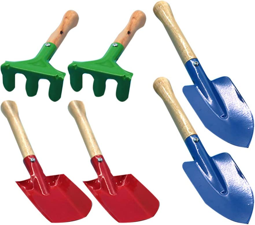 TOYANDONA 6PCS Kids Garden Tool 2021 spring and summer new Handle Ranking integrated 1st place Wooden Gardening Too Mini