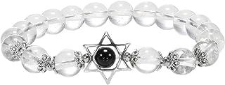 Nupuyai Unisex Merkaba Star Gemstone Beads Bracelet Healing Stone Stretchy Bracelet for Men and Women