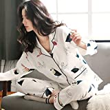 SDCVRE Conjunto de Pijama Pyjama Women Clothes Summer Womens Pajamas Sets Long-Sleeved Sleepwear Suits Girl Fashion Casual Outerwear Sleepwear Night Suit,849 Birdie,XL