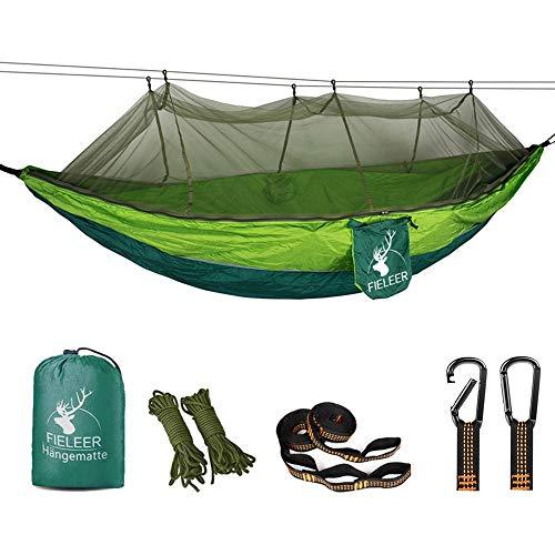 Fieleer Hamac de Camping avec Moustiquaire Ultra-léger Portable | avec Mousquetons de qualité & Sangles 2,5cm de Large avec 6 Élingues | 275x140cm Max 300kg Nylon de Parachute | pour Voyage Randonnée