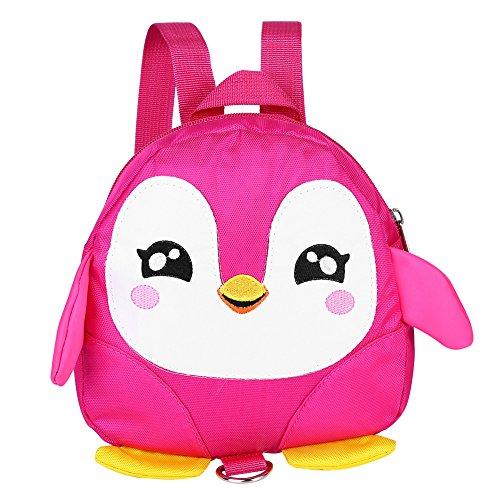Fdit Rucksack Kinderrucksack Niedlichen Cartoon Pinguin Baby Sicherheitsgurt Rucksack Kleinkind Anti-verlorene Tasche Kinder Schultasche(Rose)